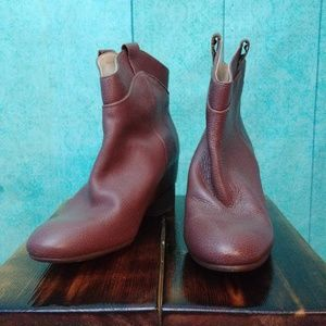 Zara Western Style Booties Brown Leather Size 37